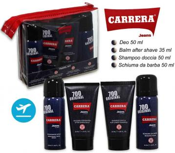 Carrera 700 uomo travel kit a/s balm 35ml + schiuma da barba 50ml + deo 50ml + shampoo-doccia 50 ml