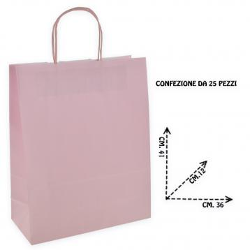 Shoppers carta c.rosa man.ritorto f.to.  36 + 12 x 41