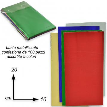 100 buste ppl 10 x 20 cm. metallizzato assortiti in 5 colori