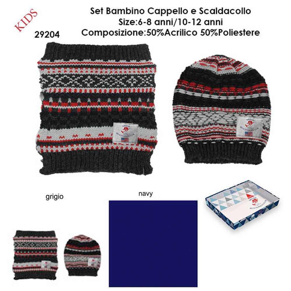 nuovi stili in vendita all'ingrosso vendite all'ingrosso Miami beach polo club Set bambino scaldacollo e cappello 100 ...