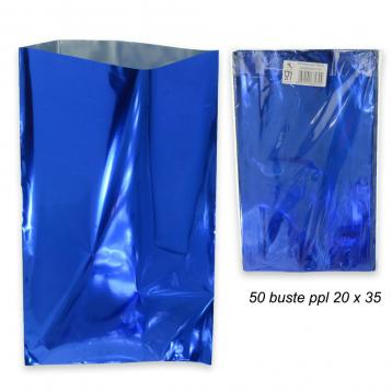 Busta regalo metallizzato in ppl  f.to  20 x 35 col.blu