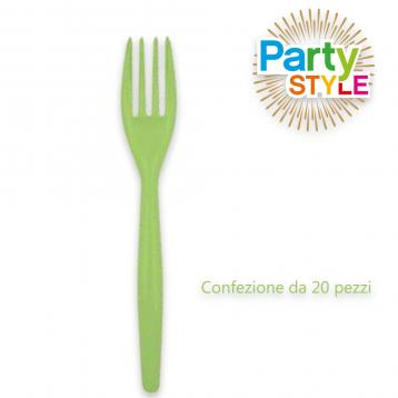 20 forchette da 180 mm.  party style verde acido
