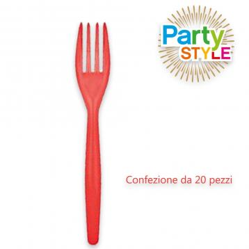 20 forchette da 180 mm.  party style rosso