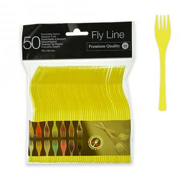 50 forchette dolce 140 mm.  fly line col.giallo